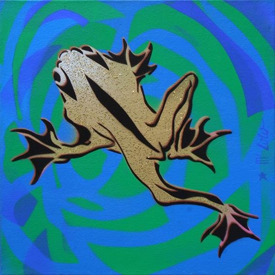La Grenouille / pochoir sur toile (50x50cm) / 2004