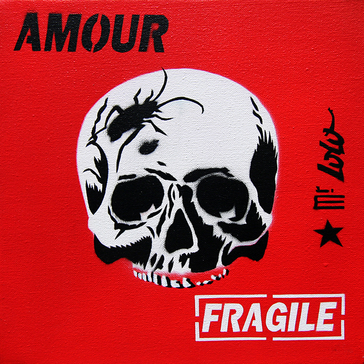 AMOUR FRAGILE / Pochoir sur toile (30x30cm) / 2010