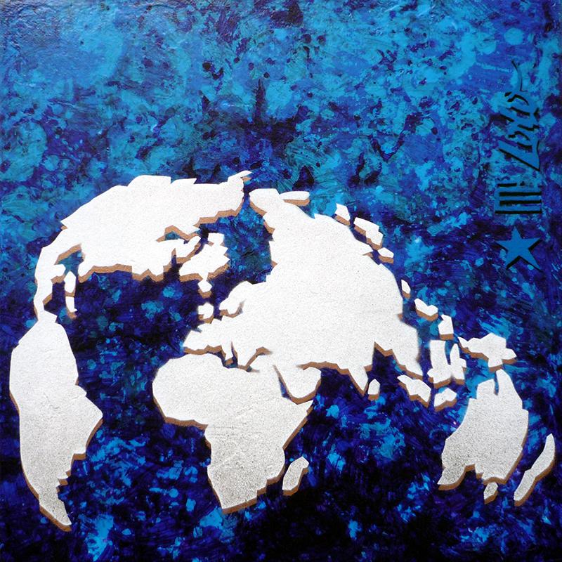 Vanité terrestre / Lavis et pochoir sur toile (30x30) / 2010