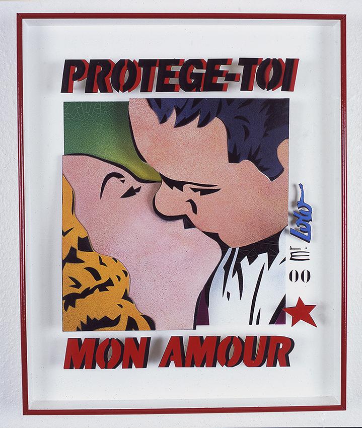 PROTEGE-TOI MON AMOUR pochoir 2D sur bois (50x65cm) 2000