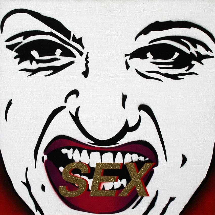 SEX LATEX LEX (triptyque) SEX pochoir sur toile (70x70cm) 2001