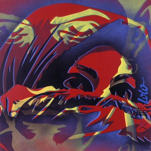 2002  / RAFIKMANIA Diptyque / Pochoir sur toile / 70x70 cms