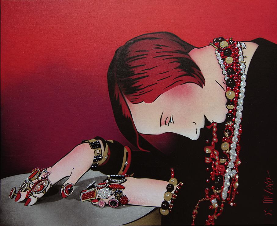 la Dame Rouge / pochoir strassé sur toile (73x60) / 2019