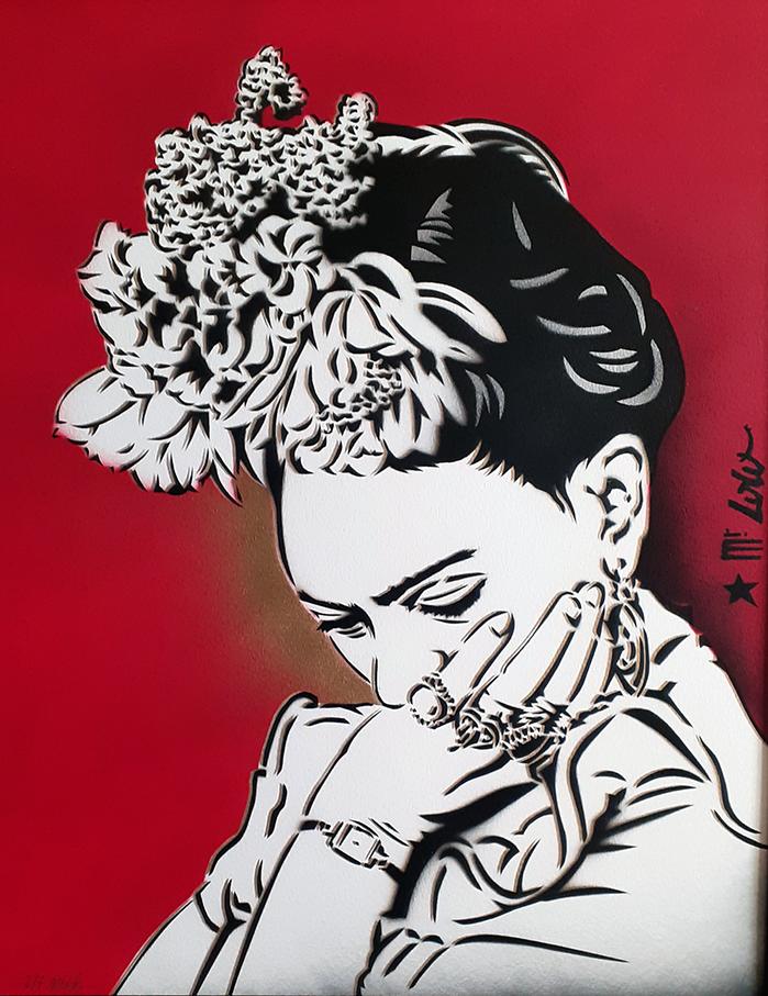 Frida (multiple) / pochoir sur papier Montval 300gr (50x40cm) / 2020