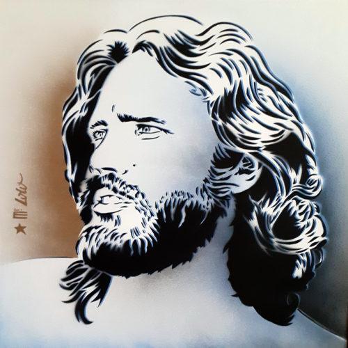 2020 JIM MORRISON pochoir sur papier Montval 300gr (50x50cm)