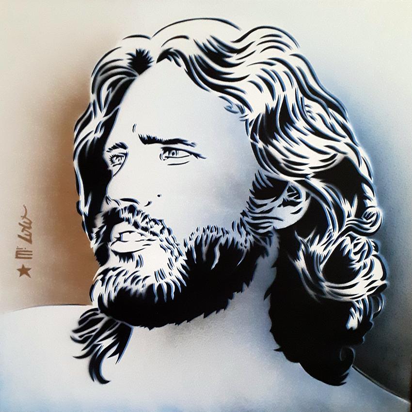 Jim Morrison (multiple) / pochoir sur papier Montval 300gr (50x50cm) / 2020