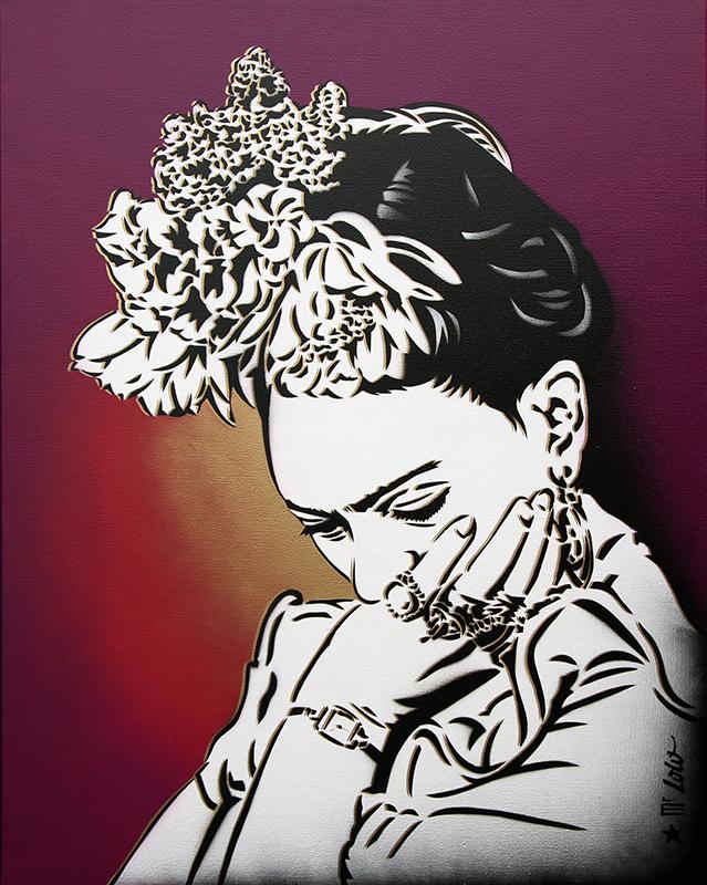 Frida / pochoir sur toile (92x73cm) / 2020